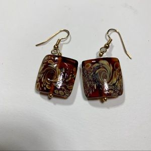 Rich Amber Color Root Beer Float Hook Earrings